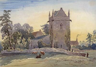 CHURCH & COWS IN LANDSCAPE Victorian Watercolour Painting - 19TH CENTURY