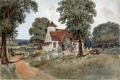 CHURCH & FIGURES IN LANDSCAPE Victorian Watercolour Painting 19TH CENTURY
