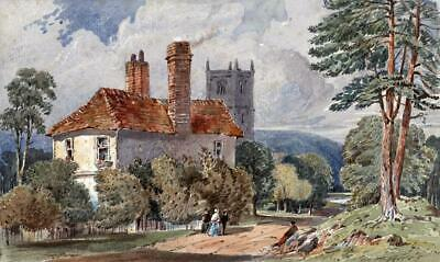CHURCH & COTTAGE IN LANDSCAPE Victorian Watercolour Painting 19TH CENTURY