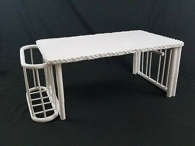 White wicker rattan bed serving tray with book magazine holder folding vintage