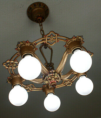 RARE 20's ANTIQUE VINTAGE RIDDLE Ceiling Light Fixture CHANDELIER