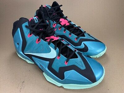 more photos ccaa2 35217 Nike Lebron 11 XI South Beach sport turquoise Mint Black 2014 616175 330 Sz  12
