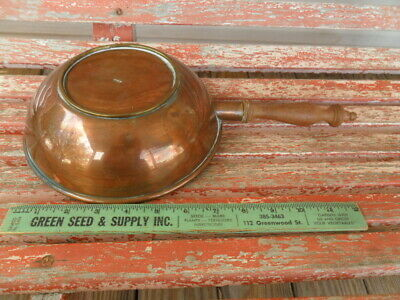 Copper Cooking Pan Pot Wok Zinc Lined Mexico / Mexican Wood Handle