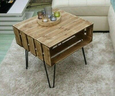 Coffee Table Rustic Chunky With Solid Wood Metal Hairpin Legs-apple crates