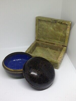 Antique Vintage Carved Onyx Trinket Box And Oriental Cloisonné Style Box
