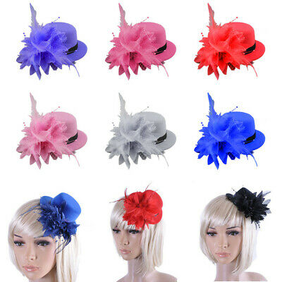 Women Flower Feather Fascinator Headband Hair Accessories Lady Race Royal Ascot