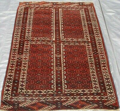 """Antique Ensi Turkmen Hand-Knotted 100% Wool Oriental Rug 3'10"""" x 6' Hand-Washed"""