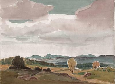 GEORGE GRAINGER SMITH Watercolour Painting WELSH MOUNTAINS IN LANDSCAPE c1930