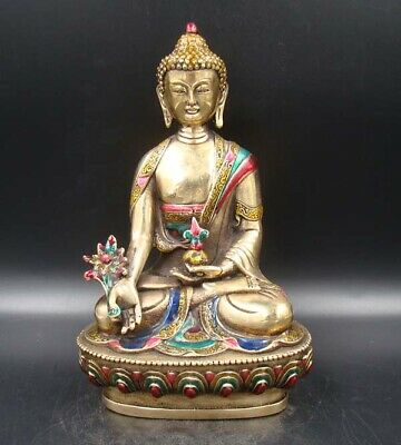200mm Collectible Handmade Carving Statue Buddha India Copper Brass Cloisonne