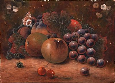 CHRISTOPHER HUGHES (b.1955) Watercolour Painting STILL LIFE BUTTERFLY & FRUIT