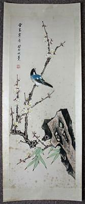 SUPERB ANTIQUE CHINESE Silk Scroll Painting BIRD IN TREE c1920 SIGNED