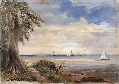 RYDE PIER ISLE OF WIGHT Victorian Watercolour Painting JUNE 1878