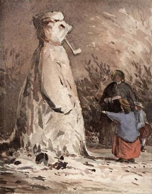 SNOWMAN LADY AND CHILDREN Small Victorian Watercolour Painting 1861