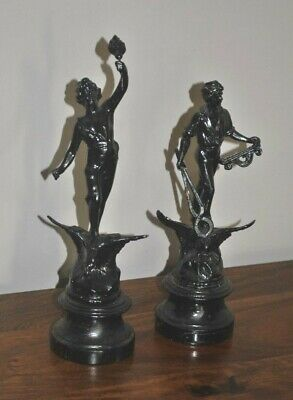 Classical Style Metal Sculpture riding Eagles Wooden Bases - French Antique 30cm