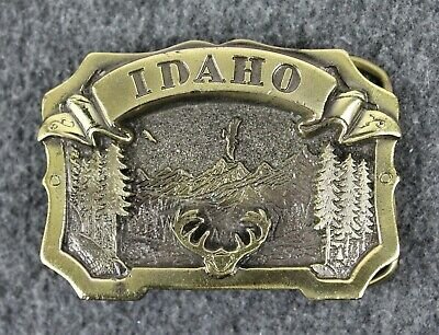 Vintage 80's 1983 Idaho Nature Outdoors Great American Belt Buckle Made In USA