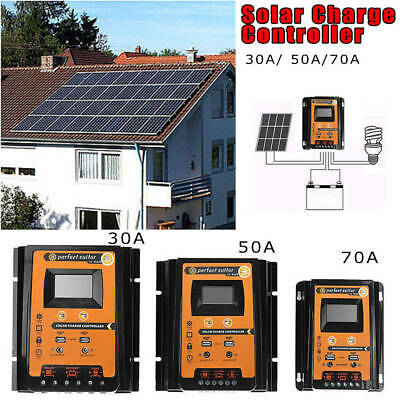 12V/24V 30A 50A 70A MPPT Solar Charge Controller LCD Display Battery Charger