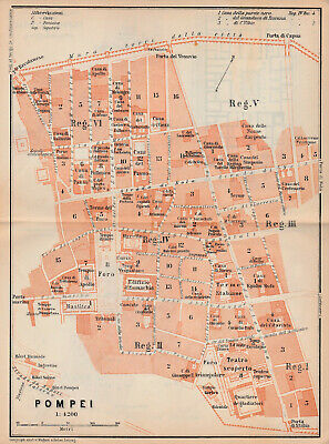 Map of Pompei by Wagner & Debes c1908 - Italy