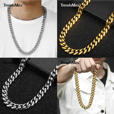 13/15mm Mens 316L Stainless Steel Curb Necklace Gold/Silver Plated Chain Jewelry