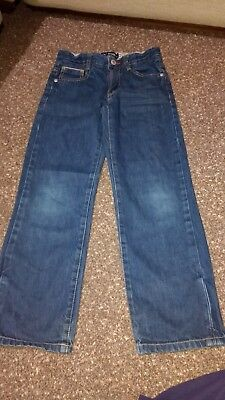 Boys Mini BODEN Dark Denim Straight Leg Adjustable Waist Jeans Age 8 Years