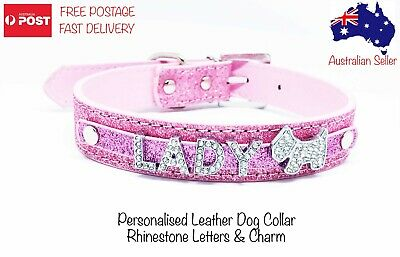 Personalised Dog Collar Leather Glitter DIY Name Rhinestone Bling Letters