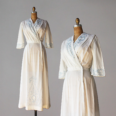 Antique Edwardian Dress 1910s Satin Stitch Embroidery Arts & Crafts Cotton Dress