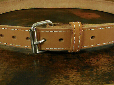 """Mens THICK Stitched Caramel Tan BULLHIDE Gun Belt 1.5"""" Wide Fits 42"""" Made in USA"""