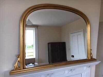 Stunning Vintage Landscape Overmantle Mirror With Clear Bevelled Glass