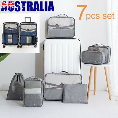 7Pcs Packing Storage Bag Travel Pouches Luggage Organiser Clothes Suitcase Bags