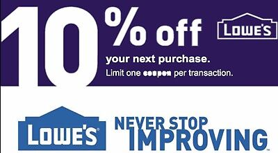 Lowes 10% OFF INSTANT DELIVERY-1COUPON PROMO IN-STORE And ONLINE