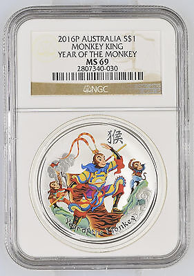 2016 Perth Mint Year of the Monkey King NGC MS 69 1 oz .999 Silver Lunar Coin