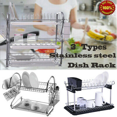 Large Capacity 3/2 Tier Dish Drainer Drying Rack Kitchen Storage Stainless Steel