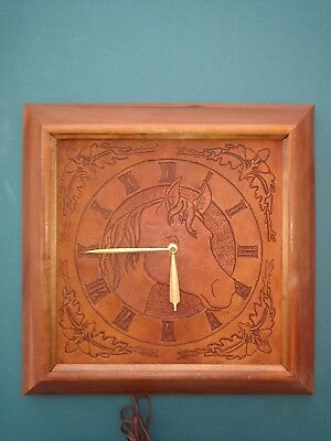 Vintage Electric Wall Clock in Wood Case with Hand-Tooled Leather Horse Head