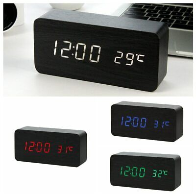 Modern Wooden Wood USB/AAA Digital LED Alarm Clock Calendar Timer Thermometer