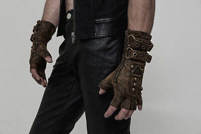 Punk Rave Men's Steampunk Fingerless Gloves Military Gothic Rock motocycle brown