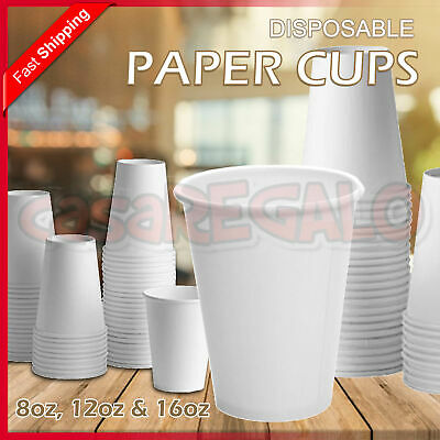 Disposable Paper Cups Coffee Takeaway 8 12 16oz Single Wall Drink Tea Water Bulk