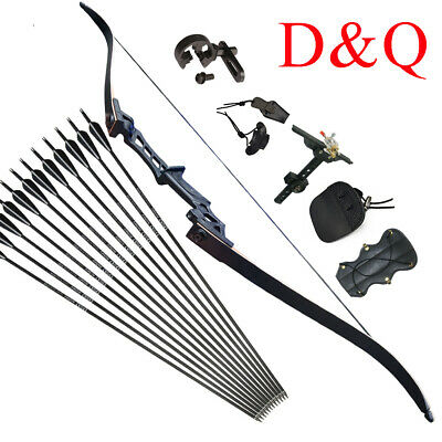 "30LBS 57"" Archery Recurve Bow Set Takedown Hunting & Fiberglass Arrows Practice"