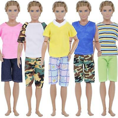 5Sets Men Outfit Casual Wear Mixed Style T-shirt Pants Jeans For Barbie Ken Doll