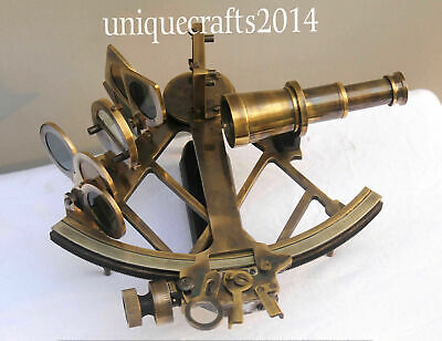 "9"" Heavy Brass Nautical Collectible Antique Sextant Maritime Astrolabe Gift Item"