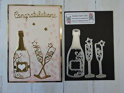 Craft Metal Cutting Die -- Champagne Bottle n Glasses Design