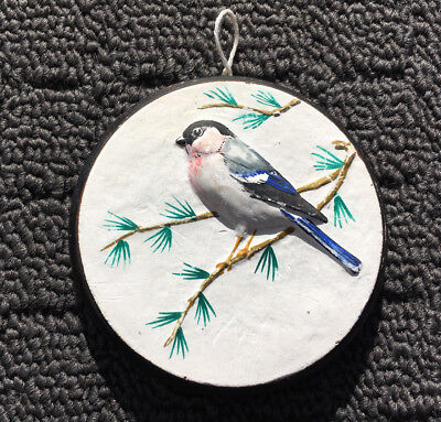 """BULL FINCH """"Winter White"""" Sweet Miniature Bird Hanging Wall Art Picture Plaque"""