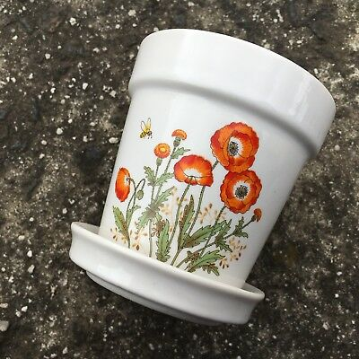 """BLOOMING POPPIES """"White"""" Beautiful Decorative Plant Pot Freestanding Ornament"""