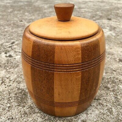 "CARVED STRIPED ""Brown"" Beautiful Wood Canister Wooden Sugar Bowl with Lid"