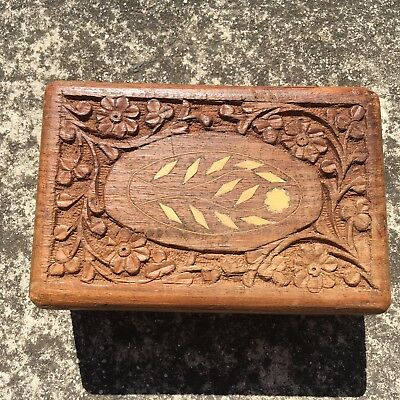 "FLORAL ""Brown"" Beautiful Carved Wood Decorative Wooden Trinket Jewellery Box"