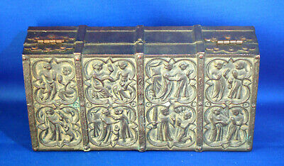 A rare antique brass gothic, treasure chest style casket, Henry III replica