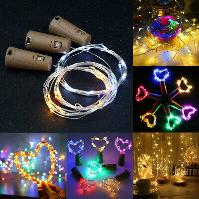 20PC 2M 20 LED Wine Bottle Cork Copper Wire Fairy String Light Party Decor In UK
