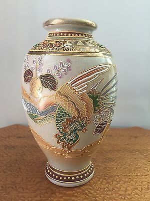 Japanese Satsuma Vase w / Ho- Bird Signed