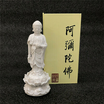 Chinese Buddhism Temple Resin White Amitabha Buddha Figure Statue Model