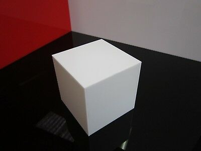 White Acrylic Display Case Cube Stand Square 5 Sided Box Tray Shop Holder 100mm