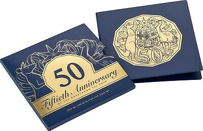 2019 50c Aust 50th Anniversary 5-Coin Set w/ Gold Plated Coin inc SIGNATURE POST