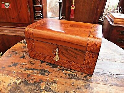 Lovely Victorian Jewellery Or Work Box, Parquetry Inlays, Restored Interior